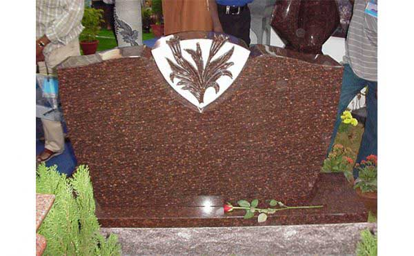 Half Serp With Flowers Engraved Cats Eye Granite Monuments