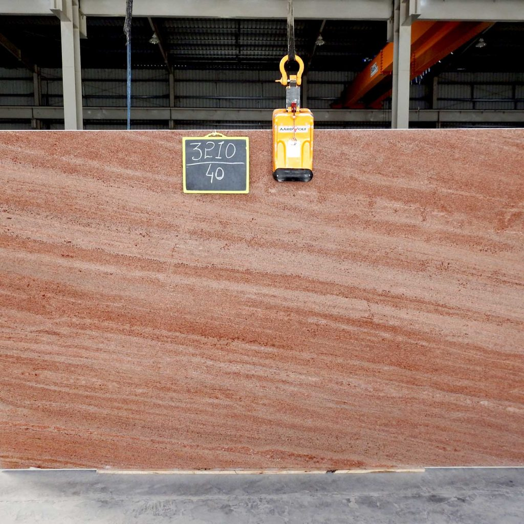 Strawberry pink granite gangsaw slab supplier