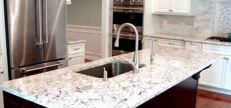 White Shades of Granite Countertops