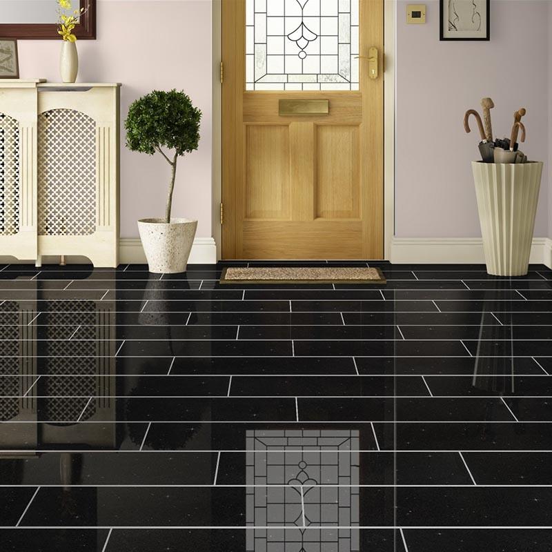 Black Galaxy Granite Floor Tile