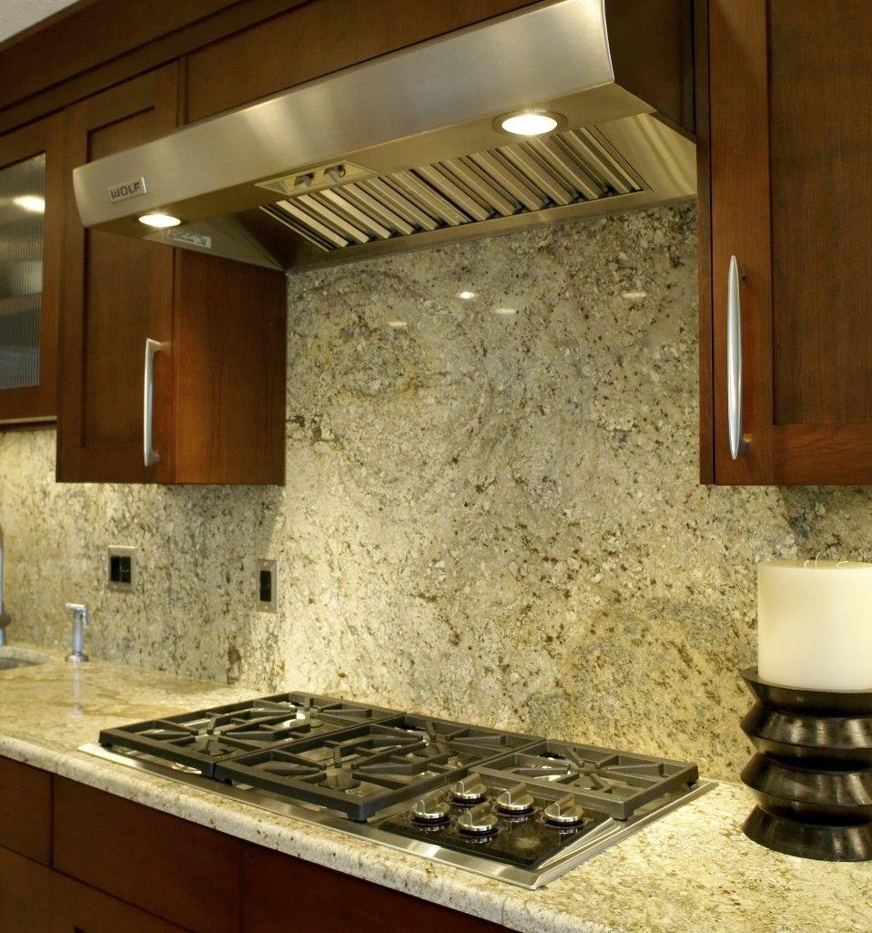 granite kitchen countertop and backsplash