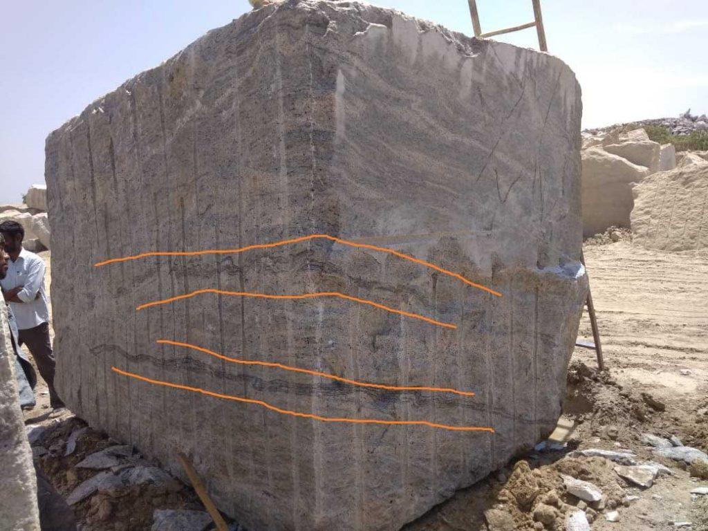 Ivory White granite defected block