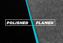 Absolute black flamed finish : Flaming of granite