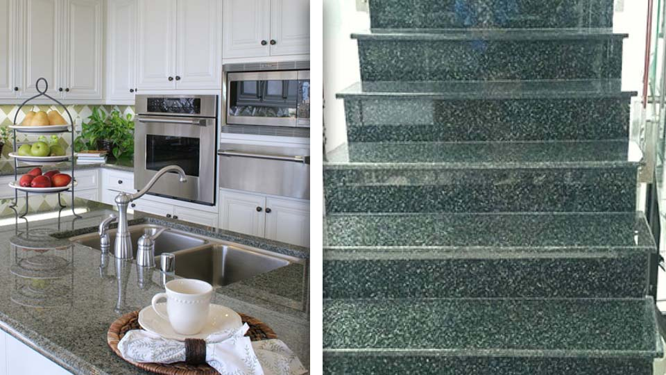 Green granite in high quality for a number of construction purposes