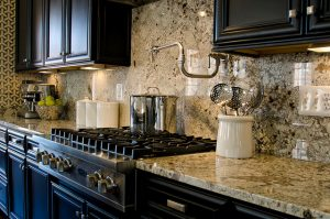 full height slab granite backsplash