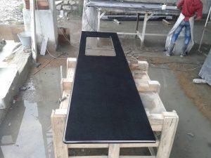 Absolute black granite countertop edges